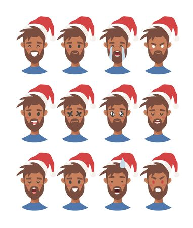 Drawing emotional african american character with Christmas hat. Cartoon style emotion icon. Flat illustration boy avatar with different facial expressions. Hand drawn emoticon man faces 版權商用圖片 - 136528593