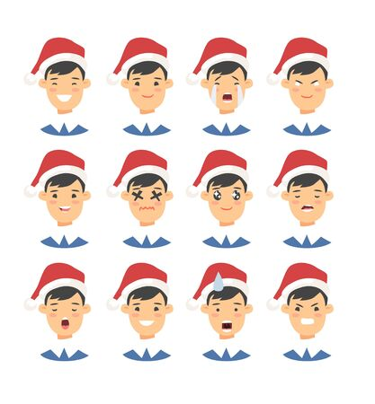Set of drawing emotional asian character with Christmas hat. Cartoon style emotion icon. Flat illustration boy avatar with different facial expressions. Hand drawn vector emoticon man faces