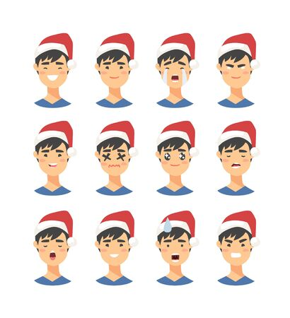 Set of drawing emotional asian character with Christmas hat. Cartoon style emotion icon. Flat illustration boy avatar with different facial expressions. Hand drawn vector emoticon man faces 向量圖像