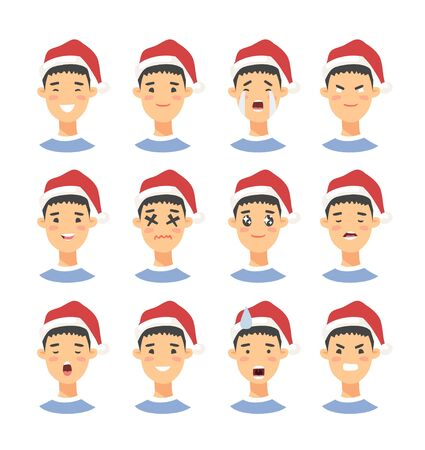 Set of drawing emotional asian character with Christmas hat. Cartoon style emotion icon. Flat illustration boy avatar with different facial expressions. Hand drawn vector emoticon man faces Ilustracja