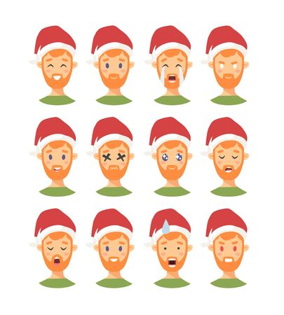 Set of drawing emotional caucasian character with Christmas hat. Cartoon style emotion icon. Flat illustration boy avatar with different facial expressions. Hand drawn vector emoticon man faces