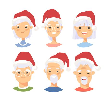 Set of asian male and female characters with Christmas hat. Cartoon style people icons. Holiday elderly  guys avatars. Flat illustration men and women faces. Hand drawn vector drawing portraits