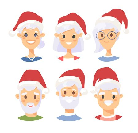Set of caucasian male and female characters with Christmas hat. Cartoon style american people icons. Holiday elderly  guys avatars. Flat illustration men and women faces. Hand drawn vector drawing portraits