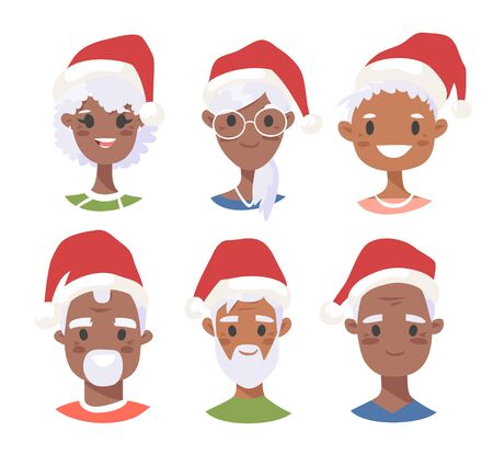 Set of black male and female characters with Christmas hat. Cartoon style african american people icons. Holiday elderly  guys avatars. Flat illustration men and women faces. Hand drawn vector drawing portraits