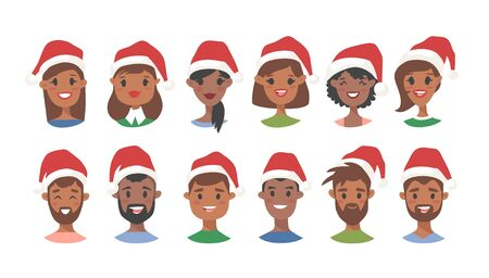 Drawing emotional african american character with Christmas hat. Cartoon style emotion icon. Holiday Flat illustration girl and boy avatar. Hand drawn vector emoticon women and man faces