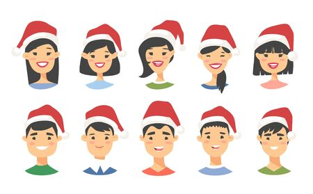 Drawing emotional asian character with Christmas hat. Cartoon style emotion icon. Holiday Flat illustration girl and boy avatar. Hand drawn vector emoticon women and man faces Ilustracja