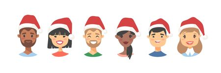 Drawing emotional character with Christmas hat. Cartoon style emotion icon. Holiday Flat illustration girl and boy avatar. Hand drawn vector emoticon women and man faces Ilustracja