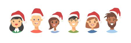 Drawing emotional character with Christmas hat. Cartoon style emotion icon. Holiday Flat illustration girl and boy avatar. Hand drawn vector emoticon women and man faces 向量圖像