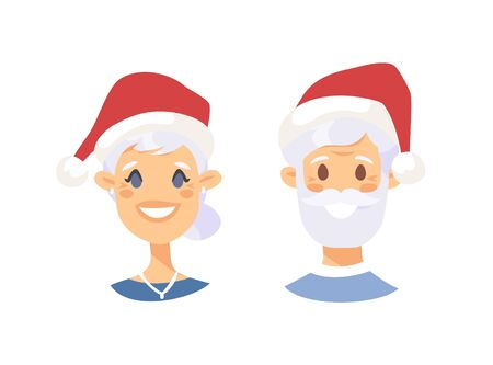 Drawing emotional caucasian elderly character with Christmas hat. Cartoon style emotion icon. Holiday Flat illustration girl and boy avatar. Hand drawn vector emoticon women and man faces