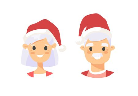 Drawing emotional caucasian elderly character with Christmas hat. Cartoon style emotion icon. Holiday Flat illustration girl and boy avatar. Hand drawn vector emoticon women and man faces Zdjęcie Seryjne - 134893752
