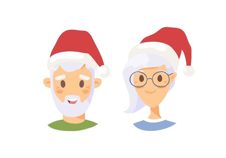Drawing emotional caucasian elderly character with Christmas hat. Cartoon style emotion icon. Holiday Flat illustration girl and boy avatar. Hand drawn vector emoticon women and man faces Zdjęcie Seryjne - 134893753