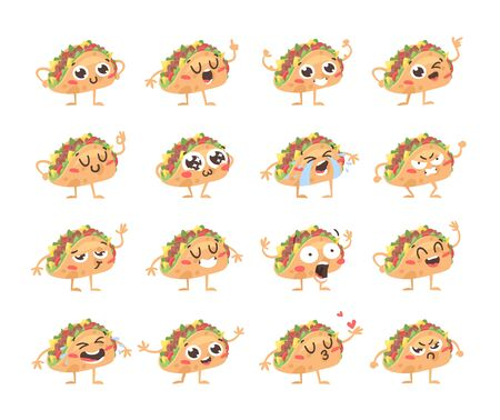 Cartoon drawing set of fast food emoji. Hand drawn emotional meal. illustration american cuisine. Creative ink art work mexican tacos