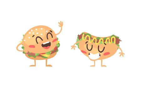 Cartoon drawing set of fast food emoji. Hand drawn emotional meal.Actual Vector illustration american cuisine. Creative ink art work burger and hot dog