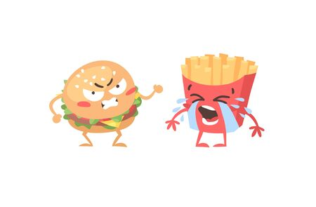 Cartoon drawing set of fast food emoji. Hand drawn emotional meal.Actual Vector illustration american cuisine. Creative ink art work burger and french fries