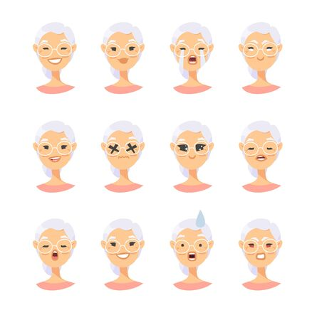 Set of asian female emotional characters. Cartoon style people emoticon icons. Holiday elderly  guys avatars. Flat illustration women faces. Hand drawn drawing emoji portraits