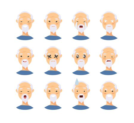 Set of asian male emotional characters. Cartoon style people emoticon icons. Holiday elderly  guys avatars. Flat illustration men faces. Hand drawn drawing emoji portraits
