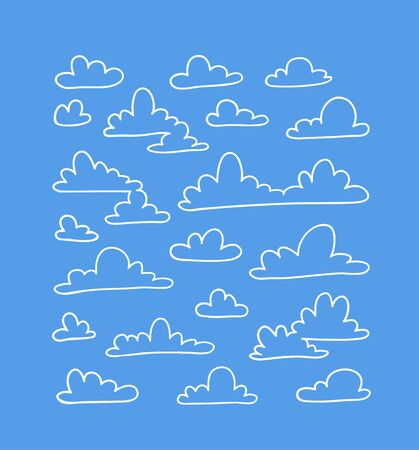 Set of funny clouds in line art style on blue background. Hand drawn illustration cartoon sky. Creative work. Actual vector weather drawing