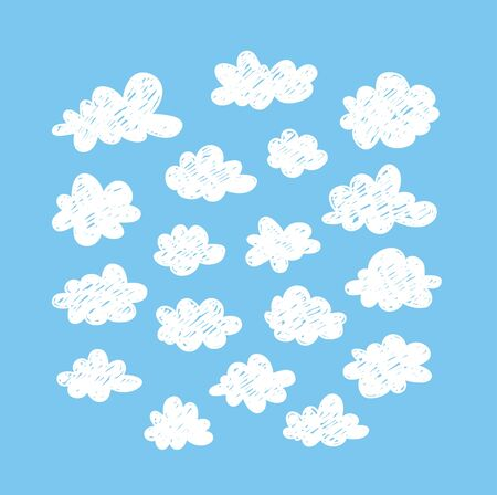 Set of funny clouds in doodle style on blue background. Hand drawn illustration cartoon sky. Creative art work. Actual vector weather drawing