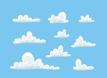 Set of funny clouds in flat style on blue background. Hand drawn illustration cartoon sky. Creative art work. Actual vector weather drawing