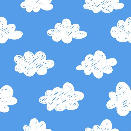 Seamless pattern with funny clouds in doodle style on blue background. Hand drawn illustration cartoon sky. Creative art work. Actual vector weather drawing