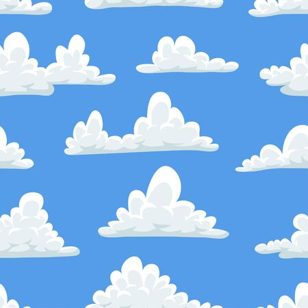 Seamless pattern with funny clouds in cartoon style on blue background. Hand drawn illustration  sky. Creative art work. Actual vector weather drawing