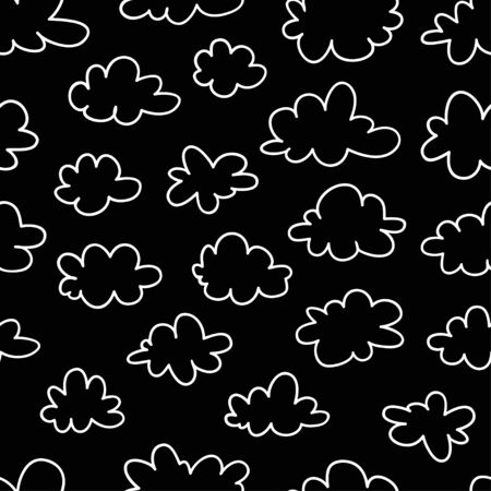 Seamless pattern with funny clouds in doodle style on black background. Hand drawn illustration cartoon sky. Creative art work. Actual vector weather drawing