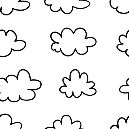 Seamless pattern with funny clouds in doodle style on white background. Hand drawn illustration cartoon sky. Creative art work. Actual vector weather drawing