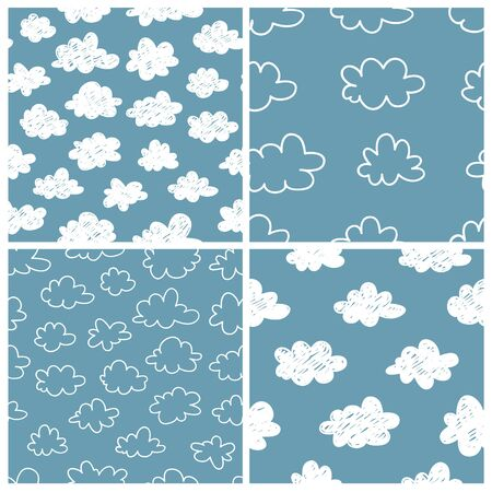 Set of seamless pattern with funny clouds in doodle style on blue background. Hand drawn illustration cartoon sky. Creative art work. Actual vector weather drawing