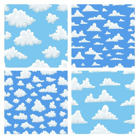 Set of seamless pattern with funny clouds in cartoon style on blue background. Hand drawn illustration  sky. Creative art work. Actual vector weather drawing