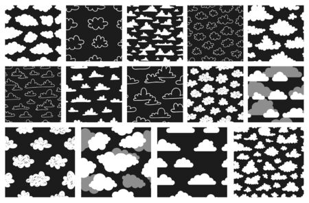 Set of seamless pattern with funny clouds in doodle style on black background. Hand drawn illustration cartoon sky. Creative art work. Actual vector weather drawing 일러스트