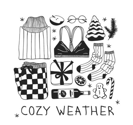 Funny quote about COZY WEATHER. Hand drawn illustration and text. Creative ink art work. Actual vector drawing