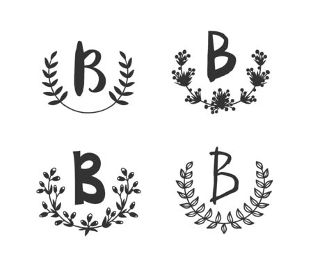 Hand drawn set of monogram objects for design use. Black Vector doodle flower on white background and Capital Letter B.  Abstract pencil boho drawing twig. Artistic illustration elements plant