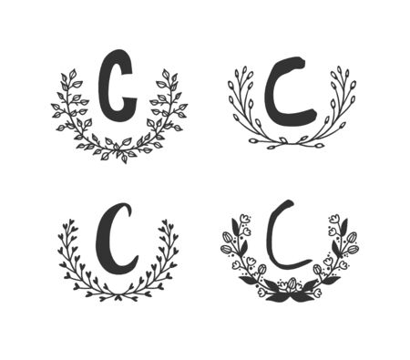 Hand drawn set of monogram objects for design use. Black Vector doodle flower on white background and Capital Letter C.  Abstract pencil boho drawing twig. Artistic illustration elements plant