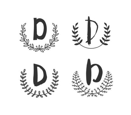 Hand drawn set of monogram objects for design use. Black Vector doodle flower on white background and Capital Letter D.  Abstract pencil boho drawing twig. Artistic illustration elements plant