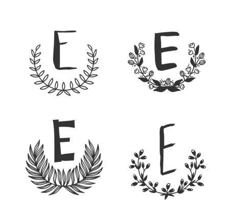 Hand drawn set of monogram objects for design use. Black Vector doodle flower on white background and Capital Letter E.  Abstract pencil boho drawing twig. Artistic illustration elements plant  イラスト・ベクター素材