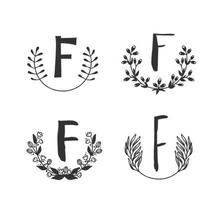 Hand drawn set of monogram objects for design use. Black Vector doodle flower on white background and Capital Letter F.  Abstract pencil boho drawing twig. Artistic illustration elements plant  イラスト・ベクター素材