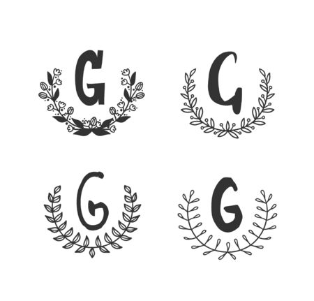 Hand drawn set of monogram objects for design use. Black Vector doodle flower on white background and Capital Letter G.  Abstract pencil boho drawing twig. Artistic illustration elements plant  イラスト・ベクター素材