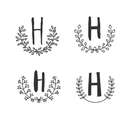 Hand drawn set of monogram objects for design use. Black Vector doodle flower on white background and Capital Letter H.  Abstract pencil boho drawing twig. Artistic illustration elements plant