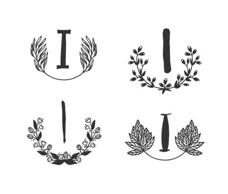 Hand drawn set of monogram objects for design use. Black Vector doodle flower on white background and Capital Letter I.  Abstract pencil boho drawing twig. Artistic illustration elements plant