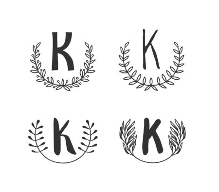 Hand drawn set of monogram objects for design use. Black Vector doodle flower on white background and Capital Letter K.  Abstract pencil boho drawing twig. Artistic illustration elements plant