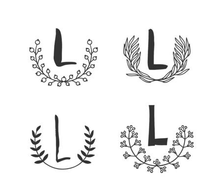 Hand drawn set of monogram objects for design use. Black Vector doodle flower on white background and Capital Letter L.  Abstract pencil boho drawing twig. Artistic illustration elements plant