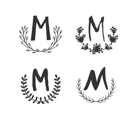 Hand drawn set of monogram objects for design use. Black Vector doodle flower on white background and Capital Letter M.  Abstract pencil boho drawing twig. Artistic illustration elements plant  イラスト・ベクター素材