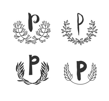 Hand drawn set of monogram objects for design use. Black Vector doodle flower on white background and Capital Letter P.  Abstract pencil boho drawing twig. Artistic illustration elements plant  イラスト・ベクター素材