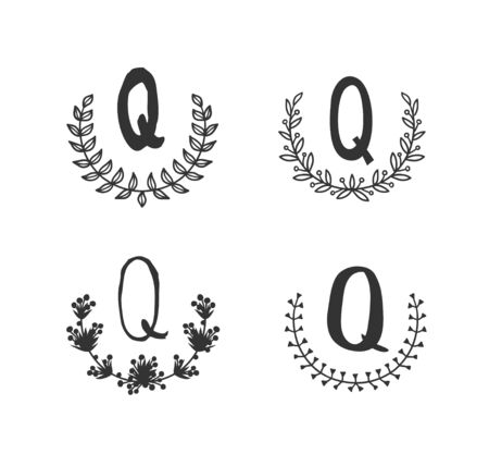 Hand drawn set of monogram objects for design use. Black Vector doodle flower on white background and Capital Letter Q.  Abstract pencil boho drawing twig. Artistic illustration elements plant
