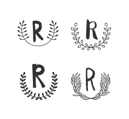 Hand drawn set of monogram objects for design use. Black Vector doodle flower on white background and Capital Letter R.  Abstract pencil boho drawing twig. Artistic illustration elements plant