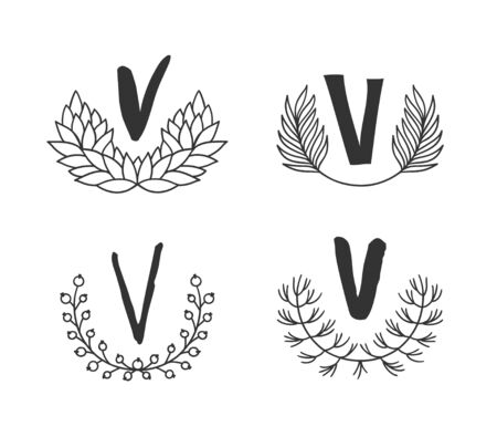 Hand drawn set of monogram objects for design use. Black Vector doodle flower on white background and Capital Letter V.  Abstract pencil boho drawing twig. Artistic illustration elements plant