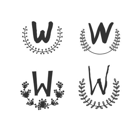 Hand drawn set of monogram objects for design use. Black Vector doodle flower on white background and Capital Letter W.  Abstract pencil boho drawing twig. Artistic illustration elements plant