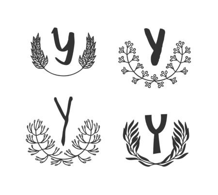 Hand drawn set of monogram objects for design use. Black Vector doodle flower on white background and Capital Letter Y.  Abstract pencil boho drawing twig. Artistic illustration elements plant