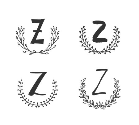 Hand drawn set of monogram objects for design use. Black Vector doodle flower on white background and Capital Letter Z.  Abstract pencil boho drawing twig. Artistic illustration elements plant