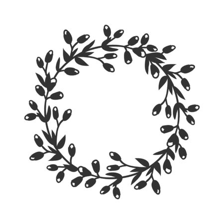 Hand drawn wreath for design use. Black Vector doodle flowers on white background. Abstract pencil boho drawing branch circle. Artistic illustration elements plant and bloom